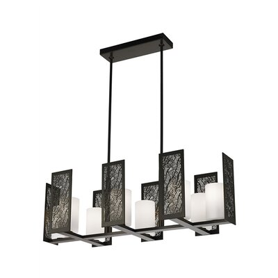 Tessa 8-Light Kitchen Island Pendant Finish: Bronze, Shade Color: Opal Glass
