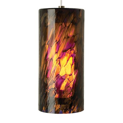 Abbey Grande 1-Light Mini Pendant Shade Color: Amber/Purple, Finish: Satin Nickel