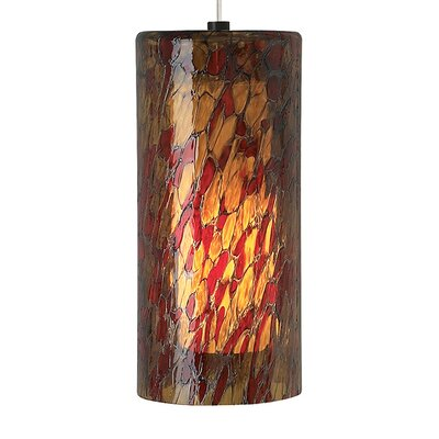 Abbey Grande 1-Light Mini Pendant Finish: Satin Nickel, Shade Color: Amber/Red