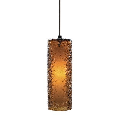 Mackin Cylinder 1-Light Mini Pendant Finish: Bronze, Shade Color: Dark Amber, Bulb Type: GY6.35 Xenon 50 W