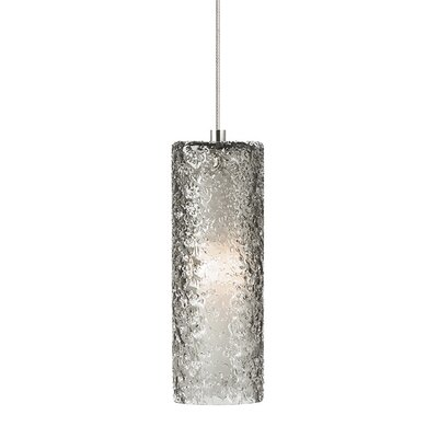 Mini-Rock Candy Cylinder 1-Light Mini Pendant Bulb Type: GY6.35 Xenon 50 W, Finish: Satin Nickel, Shade Color: Dark Amber