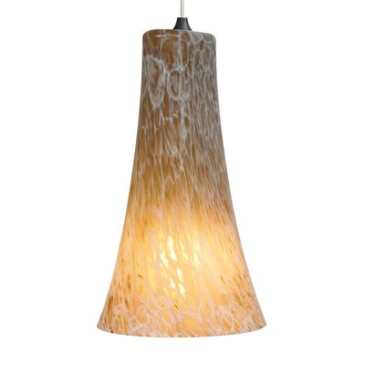 Indulgent 1-Light Mini Pendant Bulb Type: Compact Fluorescent, Finish: Satin Nickel, Shade Color: Amber