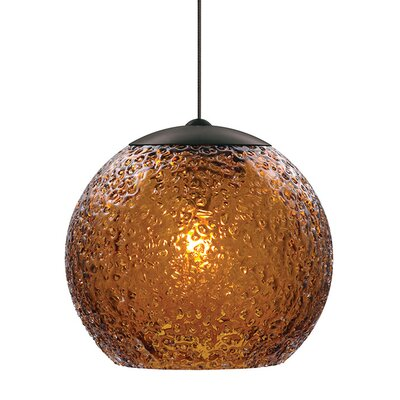 Mackin Round 1-Light Fusion Jack Mini Pendant Finish: Bronze, Shade Color: Dark Amber, Bulb Type: GY6.35 Xenon 50 W