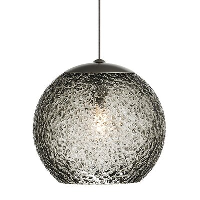 Mini-Rock Candy Round 1-Light Monorail Mini Pendant Shade Color: Smoke, Bulb Type: GY6.35 Xenon 50 W, Finish: Bronze