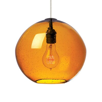 1-Light Mini Pendant Finish: Bronze, Shade Color: Amber