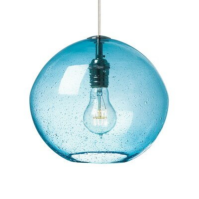 1-Light Mini Pendant Finish: Bronze, Shade Color: Aqua
