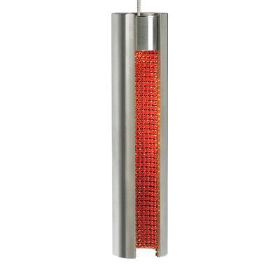 Stoneman 1-Light Monorail Mini Pendant Shade Color: Satin Nickel Exterior/Orange Crystal interior