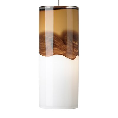 Rio 1-Light Mini Pendant Finish: Satin Nickel, Shade Color: Amber/Dark�Brown