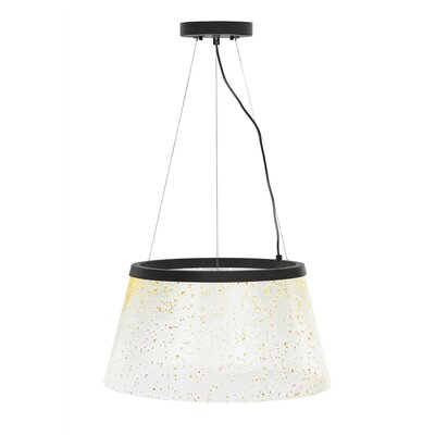 Ternate 1-Light Drum Pendant Finish: Satin Nickel, Shade Color: Clear/Silver Mica, Bulb Type: LED 277 V