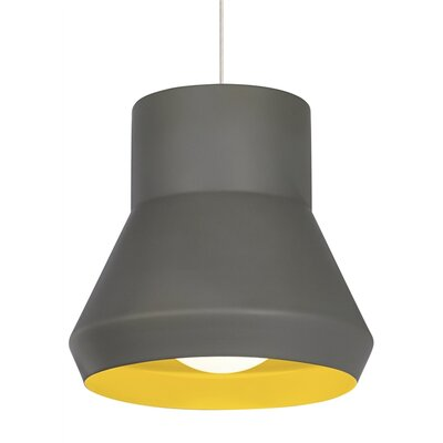 1-Light Pendant Shade Color: Gray/Chartreuse, Bulb Type: Incandescent