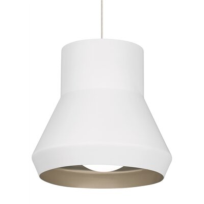 1-Light Pendant Shade Color: White/Chartreuse, Bulb Type: Incandescent