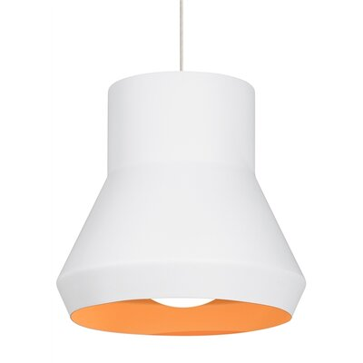 1-Light Pendant Shade Color: White/Orange, Bulb Type: Incandescent