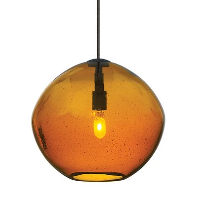 Mini Isla 1-Light Monorail Mini pendant Shade Color: Amber, Finish: Satin Nickel