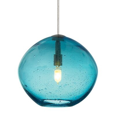 Centeno 1-Light Fusion Jack Bowl Pendant Finish: Satin Nickel, Shade Color: Aqua