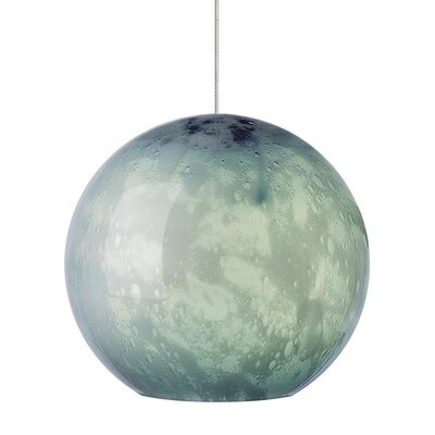 Aquarii 1-Light Mini Pendant Shade Color: Ivory, Finish: Bronze