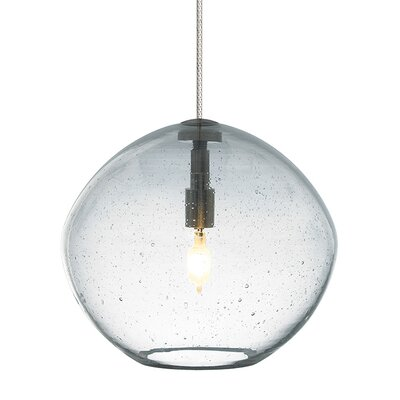Mini Isla 1-Light Fusion Jack Bowl Pendant Finish: Satin Nickel, Shade Color: Clear