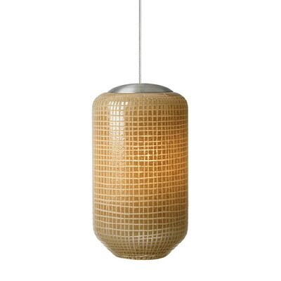 Aiko 1-Light Mini Pendant Shade Color: Ivory, Finish: Satin Nickel