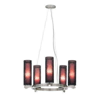 Sonali 5-Light Shaded Chandelier Finish: Satin Nickel, Shade Color: Amethyst
