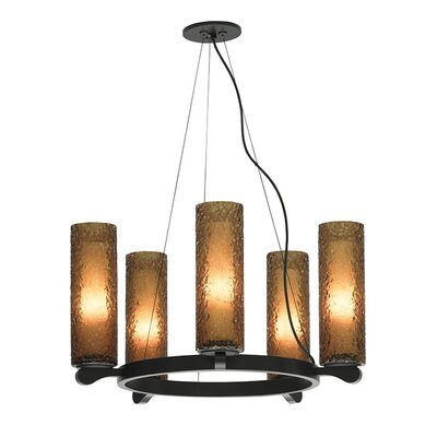 Rock Candy 5-Light Shaded Chandelier Shade Color: Dark Amber, Finish: Satin Nickel