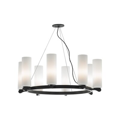Rock Candy 8-Light Shaded Chandelier Finish: Satin Nickel, Shade Color: Opal