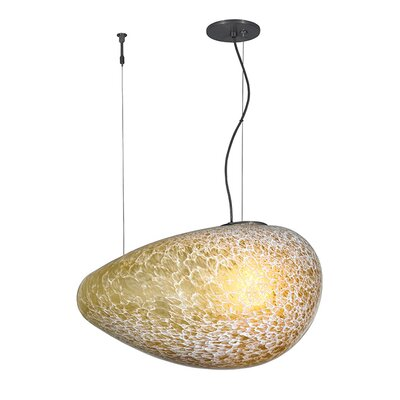 Constellation Grande 1-Light Pendant Shade Color: Amber, Bulb Type: Compact Fluorescent, Finish: Satin Nickel
