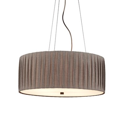 Cato 4-Light Drum Pendant Finish: Bronze, Shade Color: Ivory, Bulb Type: Compact Fluorescent