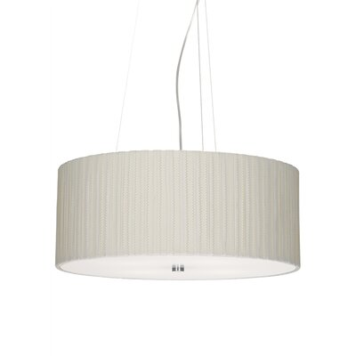 Cato 4-Light Drum Pendant Bulb Type: Incandescent, Finish: Satin Nickel, Shade Color: Ivory