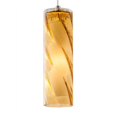 Paige 1-Light Mini Pendant Shade Color: Amber, Finish: Satin Nickel