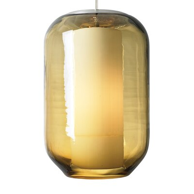 Mason 1-Light Mini Pendant Shade Color: Amber, Finish: Satin Nickel