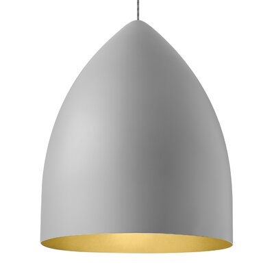 Signal Grande 1-Light Mini Pendant Bulb Type: LED 120V, Shade Color: Rubberized Gray/Gold