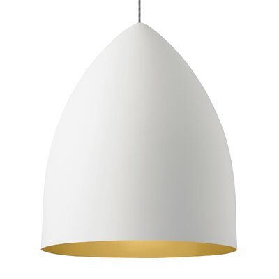 Signal Grande 1-Light Mini Pendant Bulb Type: LED 120V, Shade Color: Rubberized White/Gold