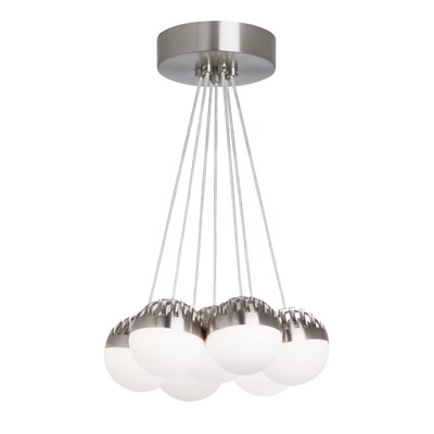 Sphere 7-Light LED Cluster Pendant Shade Color: Cast Smoke, Bulb Color Temperature: 3000K