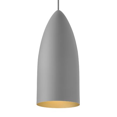 Signal 1-Light Mini Pendant Bulb Type: LED 120V, Shade Color: Rubberized Gray/Gold