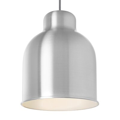 Eccles 1-Light Mini Pendant Shade Color: Brushed�Aluminum/Gloss�White, Bulb Type: Compact�Fluorescent 277V