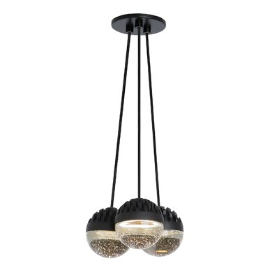 Sphere 3-Light LED Cluster Pendant Shade Color: Cast Clear, Bulb Color Temperature: 3000K
