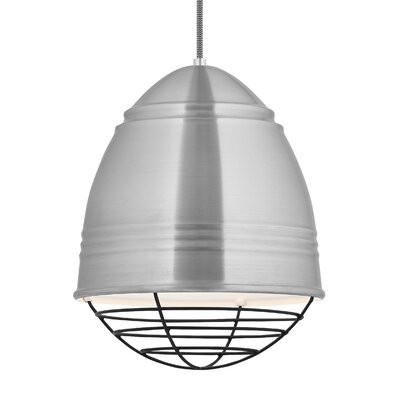 Loft 1-Light Mini Pendant Finish: Brushed�Aluminum/White, Shade Color: Black, Bulb Type: LED