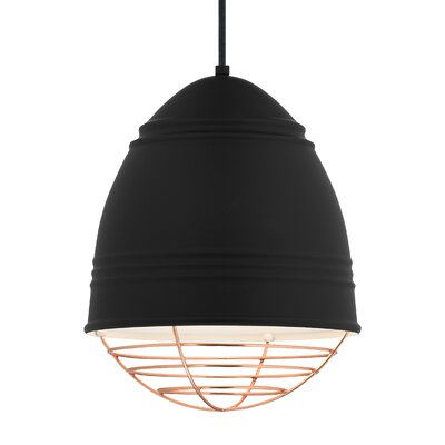 Loft 1-Light Mini Pendant Bulb Type: LED, Shade Color: Copper, Finish: Rubberized�Black/White