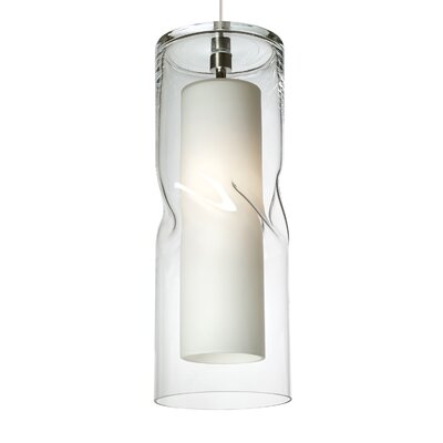 Varia 1-Light Mini Pendant Shade Color: Clear, Bulb Type: Compact�Fluorescent 120V, Finish: Satin Nickel