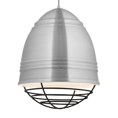 Loft Grande 3-Light Bowl Pendant Finish: Brushed�Aluminum/White, Shade Color: Black, Bulb Type: LED