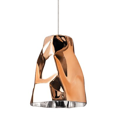 1-Light Mono Point Mini Pendant Finish: Satin Nickel, Shade Color: Copper