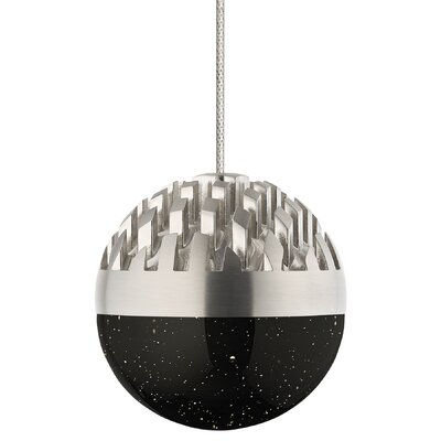Sphere 1-Light Mini Pendant Shade Color: Cast Clear, Finish: Satin Nickel