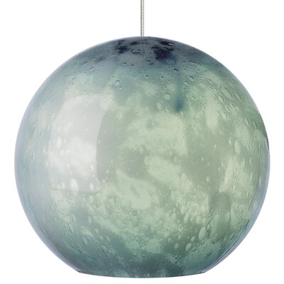 Polston 1-Light LED Pendant Shade Color: Steel Blue, Mounting Type: Monopoint, Finish: Satin Nickel