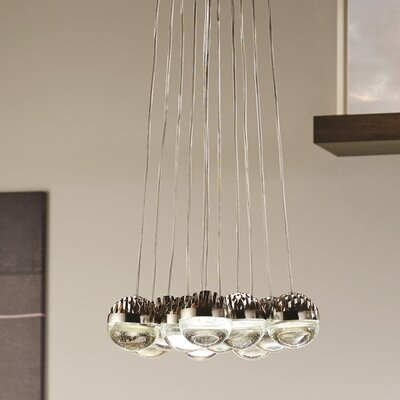 Sphere 11-Light LED Cluster Pendant Shade Color: Cast Clear, Bulb Color Temperature: 2200K-3000K