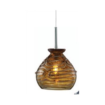 Chambliss 1-Light Mini Pendant Color: Amber, Finish: Satin Nickel, Mounting Type: Pendant with Canopy/Transformer