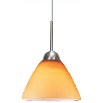 Broadlands Bowl Pendant Glass Color: Amber, Finish: Satin Nickel, Mounting Type: Pendant with Canopy/Transformer