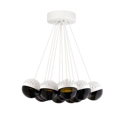 Sonntag 11-Light LED Cluster Pendant Finish: Rubberized�White, Shade Color: Cast�Smoke