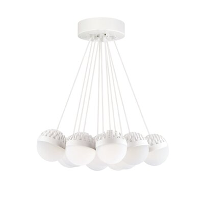 Sphere 11-Light LED Cluster Pendant Finish: Rubberized�White, Shade Color: Frost