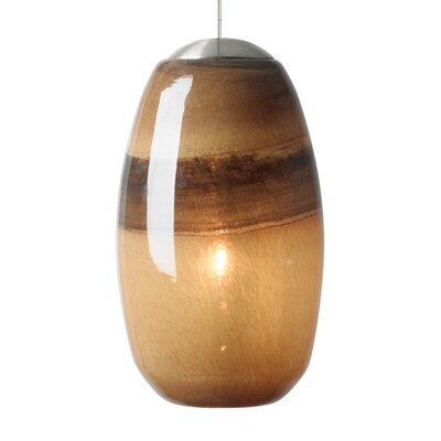 Emi 1-Light Mini Pendant Finish: Bronze, Shade Color: Ivory/Brown