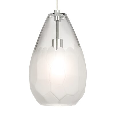 Briolette Grande 1-Light Mini Pendant Finish: Satin Nickel, Shade Color: Frost, Bulb Type: 9.5W LED