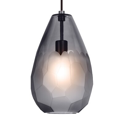 Briolette Grande 1-Light Mini Pendant Finish: Bronze, Shade Color: Frost, Bulb Type: 9.5W LED